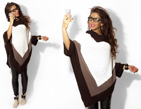 Ecru Asymmetrical Knitted Poncho - One size