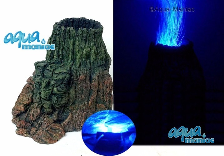 LED Aquarium Volcano with illuminated blue bubbles