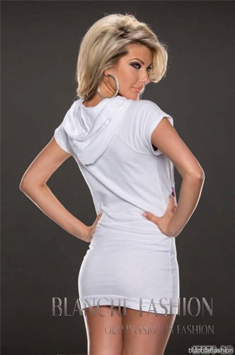Long Sporty Tunic Top Cotton Dress Size: 12 White