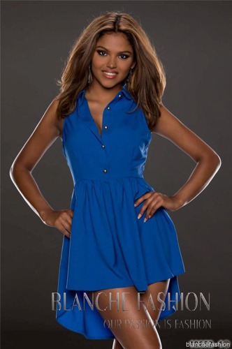 Sexy Chiffon  Asymmetrical Dress Tunic Size: 10 Blue